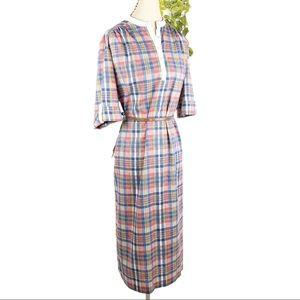 Sears VTG 70 Plaid Midi Sheath Dress  Short Sleeve